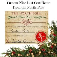 nice list certificate personalized from santa