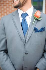Coral Boutonniere Coral Rose Boutonniere With Navy Tie And Pocket Square
