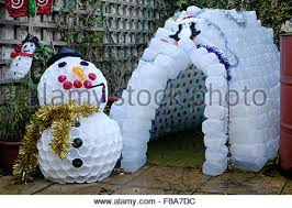 snowman decorations christmas garden igloo and snowman decorations made from plastic