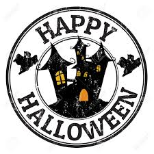 happy halloween free clip art happy halloween grunge rubber stamp with castle and ghosts vector