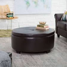 Leather Ottoman Tray by Furniture Round Leather Ottoman Round Leather Ottoman Storage