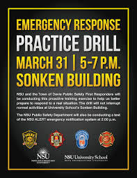 main campus emergency response practice drill march 31 nsu newsroom