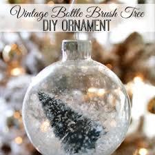 snowed in vintage bottle brush christmas tree ornament fox