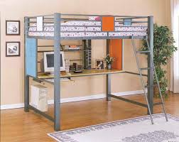 Plans For Full Size Loft Bed With Desk by Full Size Loft Bunk Bed With Built In Study Desk In Pastel Colors