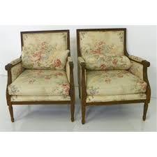 Ralph Lauren Armchair Pair Bergere Chairs Louis Xvi Style
