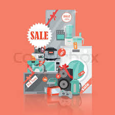 black friday home appliance outlet big super web sale banner household appliances in flat style for