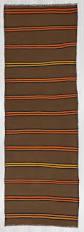Kilim Runner Rugs Orange U0026 Yellow Striped Vintage Brown Kilim Runner Rug 1276
