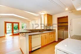 Vaulted Ceiling Open Floor Plans Empty House Interior With Open Floor Plan Living Room With
