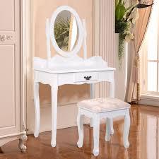 coiffeuse pour chambre goplus noir blanc vanité bois maquillage coiffeuse tabouret ensemble