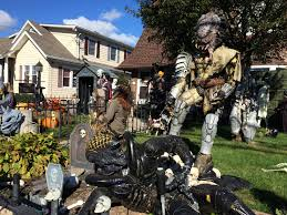 check out this great decorated haunted house in farming