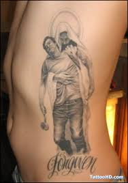 grey ink jesus cross tattoo on rib side real photo pictures