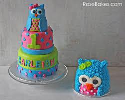 bright polka dots owl cake and owl smash cake rose bakes