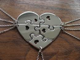 puzzle heart pendant necklace images Five piece heart necklace silver puzzle heart pendants jpg