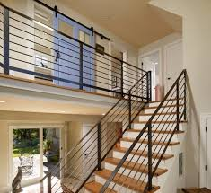 Metal Stair Banister Designs Ideas Minimalist Home With Black Floating Stair And
