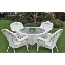 Faux Wicker Outdoor Furniture International Caravan Resin Wicker Outdoor 5 Piece Dining Set