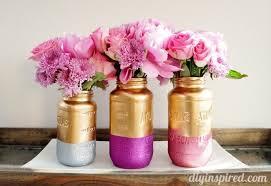 jar centerpiece gold and glittered jar centerpiece diy inspired