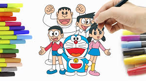 coloring pages for kids and color doraemon and friends hde youtube