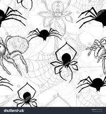 white halloween background seamless pattern spiders cobweb on white stock vector 433333687