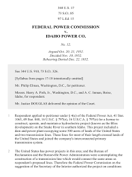 Idaho Power Of Attorney by Fpc V Idaho Power Co 344 U S 17 1952 Supreme Court Of The