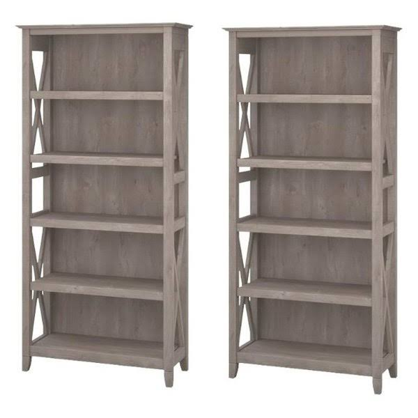 (set Of 2) 5 Shelf Bookcase In Washed Gray - 1902562-pkg