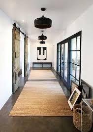 barn doors farmhouse with hallway bench