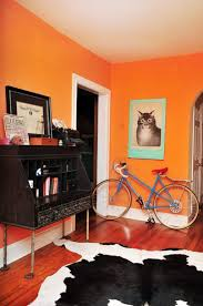 hallway with orange bold color in the walls decorating your