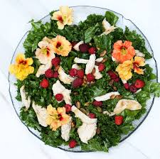 flowers edible raspberry kale salad with edible flowers one armed