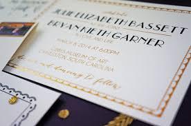 art deco gold foil wedding invitations by dodeline design