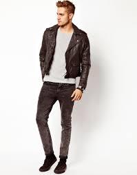 leather biker jacket asos leather biker jacket in slim fit in brown for men lyst
