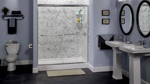 bathroom modern shower remodeling with white marble bathroom wall
