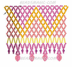 free pattern for beaded necklace crystal leaves beads magic 2