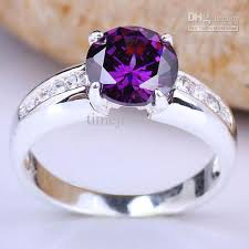 rings with stone images Women solitaire silver ring 8mm stone purple amethyst cool fashion jpg