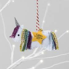 rainbow unicorn personalised christmas tree decoration by miss
