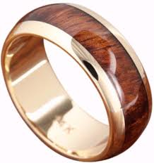 wood wedding bands 14k solid gold wood wedding ring with wood inlay