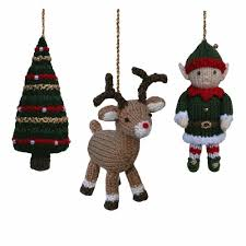 christmas tree reindeer and elf knitting pattern by knitables