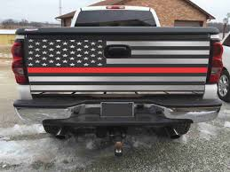 American Flag On Truck American Flag Red Fire Figther Tailgate Wrap Vinyl Graphic