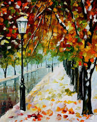 beginning of winter u2014 palette knife oil painting on canvas by