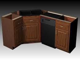 Corner Kitchen Cabinets Ebony Wood Classic Blue Raised Door Corner Kitchen Sink Base