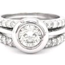 bezel set engagement ring diamond bezel set engagement ring and bands 1 94ctw knrinc