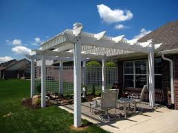 pergola over patio for sun shade attached screens for privacy