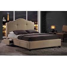 Storage Bed With Headboard Baxton Studio Armeena Upholstered Storage Bed With Nailhead