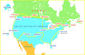 map us and canada us map with canada and mexico of cities states usa