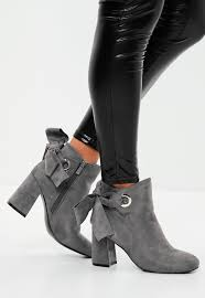 grey bow tie back suedette ankle boots missguided