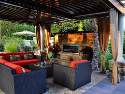 modern outdoor patio with custom stone outdoor fireplace eva