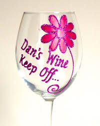 wine birthday 21st birthday large wine glass daisy design with your message