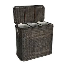 linen laundry hamper 3 compartment wicker laundry hamper the basket lady