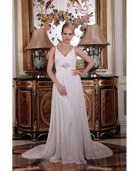 Chiffon Wedding Dresses A Line V Neck Sweep Train Satin Chiffon Wedding Dress With Beading