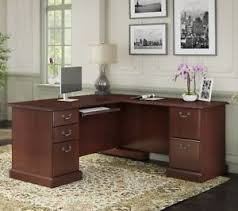 Bush Office Desks Cherry Brown Corner Desk Executive Desks L Shaped Home Office