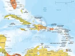 Caribbean Map by Vector Map Of Caribbean Political Bathymetry One Stop Map