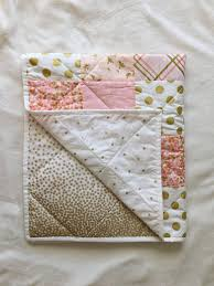 Pink And Gold Nursery Bedding Baby Blanket Modern Baby Quilt Pink Gold White